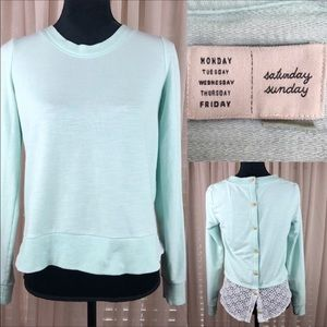 Anthropologie mint green sweatshirt with l…